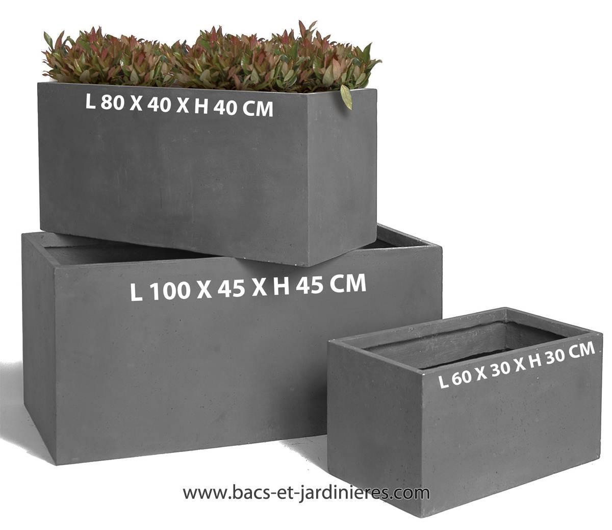 Jardiniere L 60 x 30 x H 30 cm Fibre de terre Gris fonce exterieur T1