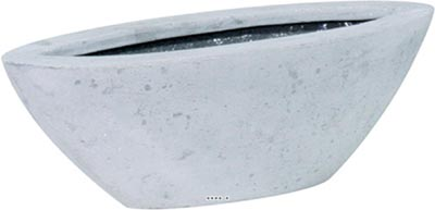 Bac en Polystone Windy Ext. Oval L 25x 16 x H 12 cm Gris ciment